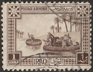 Iraq stamp, Scott# 2, used, with post marks, horses, animals  #d-2