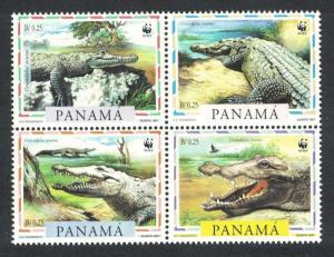 Panama WWF American Crocodile 4v in block 2*2 SG#1590-1593 MI#1787-1790 SC#846