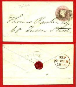 EP4a QV 1d Pink Envelope Size B Used Fancy Too Late On Reverse
