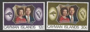 CAYMAN ISLANDS SG317/8 1972 ROYAL SILVER WEDDING MNH