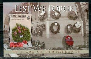 TRISTAN DA CUNHA 90th ANN OF WORLD WAR I SCOTT #856  SOUVENIR SHEET MINT NH
