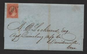$US Sc#10 yellowish O.B. shape signed Temple Manchester NH 1851 cover