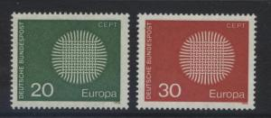 GERMANY. -Scott 1018-19 - Europa - 1970- MNH - Single 20pf Stamp