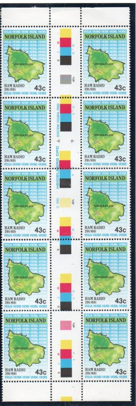 Norfolk Islands Sc 501 1991 Map stamp gutter block of 10 mint NH