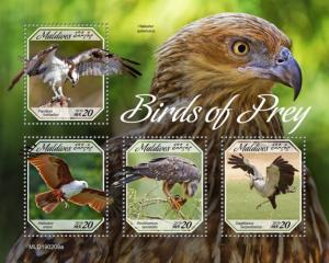 MALDIVES - 2019 - Birds of Prey  - Perf 4v Sheet - MNH