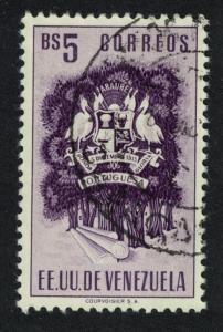 Venezuela Pelicans Birds State of Portuguesa Postage 5Bs Black KEY VALUE 1951