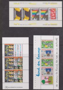 Netherlands - 3 Semi-Postal Souvenir Sheets VF-NH