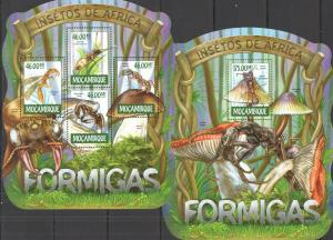 Mozambique 2015 mushrooms insects klb+s/s MNH