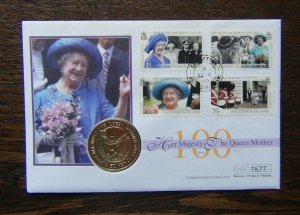 Ascension Island 1999 Queen Mother 100th Birthday Coin Cover Used