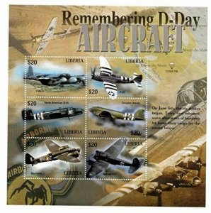 Liberia MNH S/S D-Day Aircraft 6 Stamps