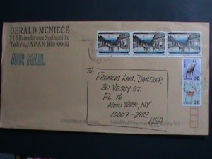 JAPAN-AIRMAIL-COMMERCIAL-COVER-WITH COLORFUL  PICTORIAL   STAMPS-VERY FINE
