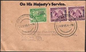 COOK IS 1946 OHMS cover Rarotonga to Auckland.............................77694W