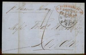 USA Havana 1849 Rossire NY Forwarding Agent England Transatlantic Cover 92187