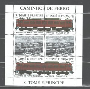 S TOME E PRINCIPE 1988 TRAINS M.S.. #824  MNH