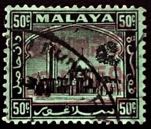 Malaya 1942 Jap Occu opt Selangor 50c Used SG#J2220a CV£250 Red Opt Sideways