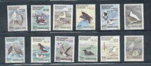Greenland Sc 177-88 1987 bird stamp set mint NH