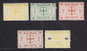 Finland HS 20/25 MLH. 1945 Rauman Railway Stamps, 5 different,  F-VF.