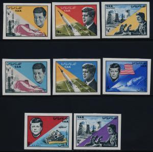 Yemen Arab Republic 216-216G imperf MNH John F. Kennedy, Space, Rocket
