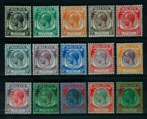 MALAYA STRAITS SETTLEMENTS 1936-37 KGV complete set of 15V MINT SG#260-274 M3194