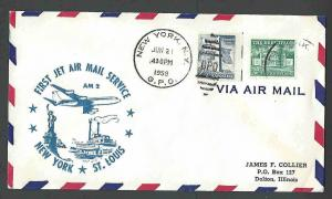 1959 COVER LIBERTY SERIES #1034 2.5c + #1037 4.5c = 7c PAYS AIRMAIL RATE 1st FLT
