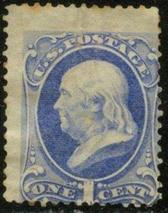 US Sc#156 1873 1c Franklin Ultra With Secret Mark OG Mint Hinged