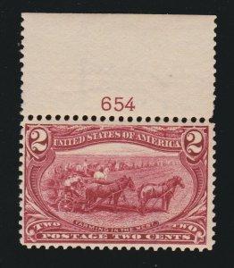 US 286 2c Trans-Mississippi Mint Plate # Single F-VF OG NH SCV $72.50