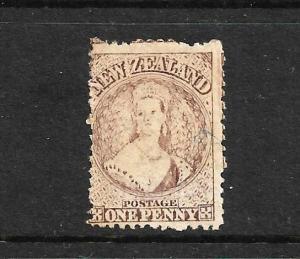 NEW ZEALAND 1873  1d  BROWN   FFQ  MLH  P12 1/2  CP A1Q5   SG 132 CHALON