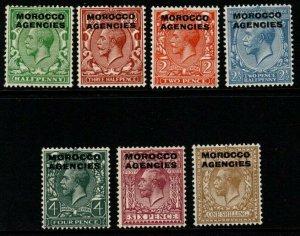 MOROCCO AGENCIES SG55/61 1925-36 DEFINITIVE SET MTD MINT