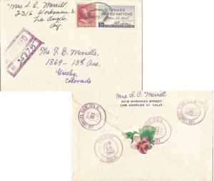 United States California Los Angeles (Sta. A) 1937 violet double ring  1887-1...