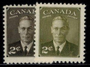 CANADA GVI SG415 + 415a, 2c SHADE VARIEITES, M MINT.