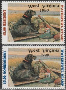 U.S.-WEST VIRGINIA 7-8, STATE DUCK HUNTING PERMIT STAMP. MINT, NH. VF