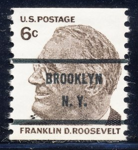 Brooklyn NY, 1305-71 Bureau Precancel, 6¢ coil Roosevelt