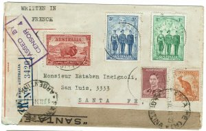 AUSTRALIA 1941 WWII CENSOR COVER TO ARGENTINA