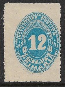 MEXICO 1891-92 12c INSTUCCION PUBLICA PRIMARA Revenue IP31 MLH
