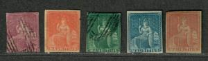 Mauritius Sc#7-11 M+U/H/F, Complete Set, 7, 20 NG, 11 Sm. Thin, Cv. $546