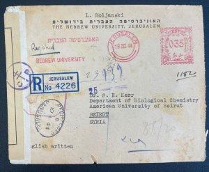 1944 Jerusalem Palestine Meter Cancel Censored Cover To Beirut Lebanon