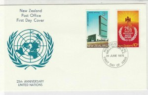 New Zealand 1970 25th Anniv. United Nations FDC Double Stamps Cover ref 22102