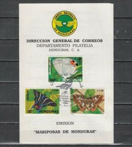 Honduras, Scott cat. C809-C811. Butterfly issue. First Day Postal Bulletin. *