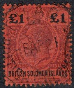 BRITISH SOLOMON ISLANDS 1914 KGV 1 POUND USED