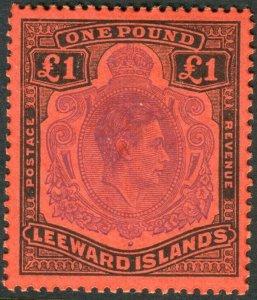 LEEWARD ISLANDS-1952 £1 Violet & Black/Scarlet Perf 13.  LMM Sg 114c