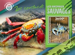 Central Africa - 2019 Wild Animals Crabs - Stamp Souvenir Sheet - CA190313b