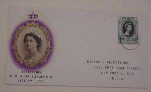 DOMINICA QUEEN ELIZABETH II CORONATION FDC 1953  CACHETED