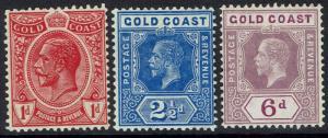 GOLD COAST 1913 KGV 1D 21/2D AND 6D WMK MULTI CROWN CA