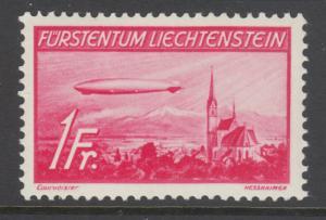 Liechtenstein Sc C15 MNH. 1936 1fr rose carmione Airship Hindenburg, fresh, VF.