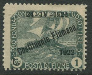 Fiume - Scott 168 - Overprint -1922 - MH - Single 1l on a 1cor Stamp