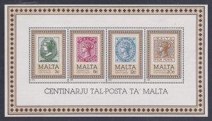 Malta # 656a, Stamp Centenary, STamp on Stamp Souvenir Sheet, Mint NH, 1/2 Cat..