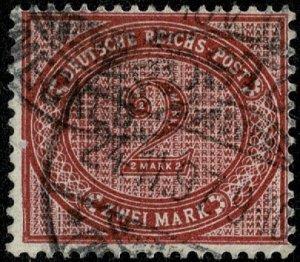 GERMANY 1875-99 2m DEEP CLARET SG38d USED (VFU)  P.14.5 x 13.5 VF