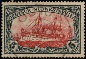 German 1906 SW Africa DSWA OUTJO 5RM Mark Mi32A Wmk USED Expertized 104884