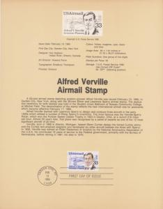 REDUCED!! 1985 ALFRED VERVILLE  AIRMAIL FDC SOUVENIR PAGE