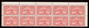 Canada #E6 VF/NH Plate #1 Upper Block Of Ten With Dot After T Of Note